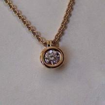 Collier pneu or jaune diamant