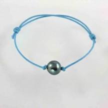Bracelet cordon perle culture grise