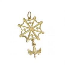 Croix huguenote découpée or jaune avec colombe petit modèle