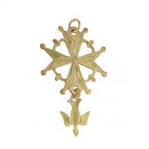 Croix huguenote or jaune moyen modèle avec colombe