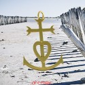 Croix or jaune des Saintes Maries de la Mer grand modèle