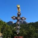 Croix Jeannette moyen modèle argent et or jaune avec diamants