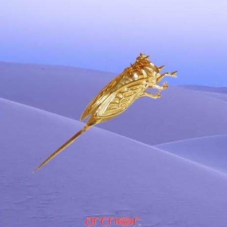 Cigale or jaune épingle de revers