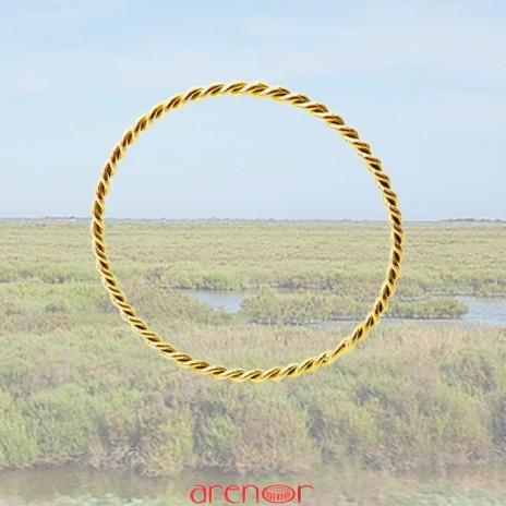Bracelet jonc torsadé or jaune