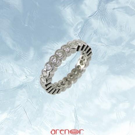 Alliance tube ouvert or gris palladié avec diamants