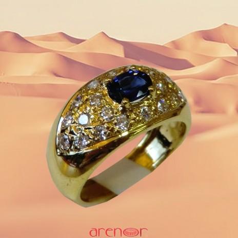 Bague jonc or jaune avec saphir et diamants