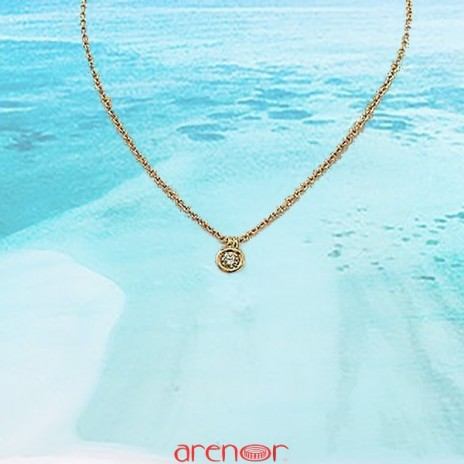 Collier pneu or jaune diamant