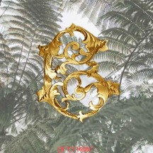 Broche or Jaune lettre C de style Louis XV avec diamants