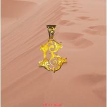 Pendentif initiale découpée style L XV en or jaune