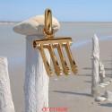 Crochet de raseteur or jaune en pendentif