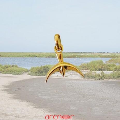 Trident or jaune petit modèle en pendentif