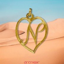 Pendentif coeur initiale découpée en or jaune