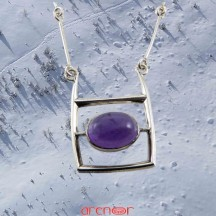 Collier batonnet motif rectangle améthyste cabochon