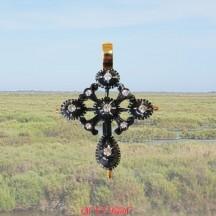Croix papillon argent et or jaune avec diamants