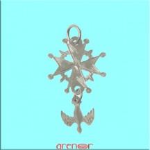 Croix huguenote or gris petit modèle avec colombe