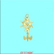 Croix huguenote or jaune mini modèle avec colombe