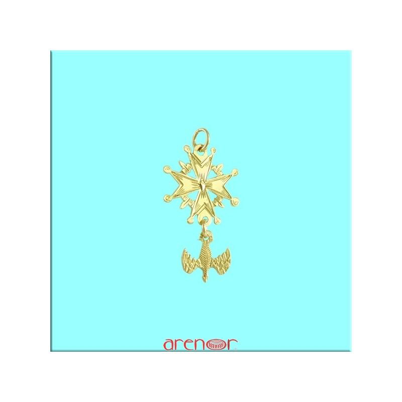 Croix Huguenote Or Jaune Mini Modele Avec Colombe Arenor