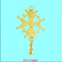 Croix huguenote or jaune grand modèle avec larme