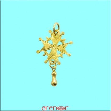 Croix huguenote or jaune moyen modèle avec larme