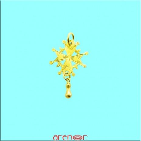 Croix huguenote or jaune petit modèle avec larme