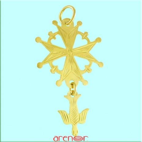 Croix huguenote or jaune grand modèle avec colombe