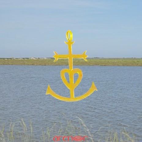 Croix or jaune des Saintes Maries de la mer moyen modèle