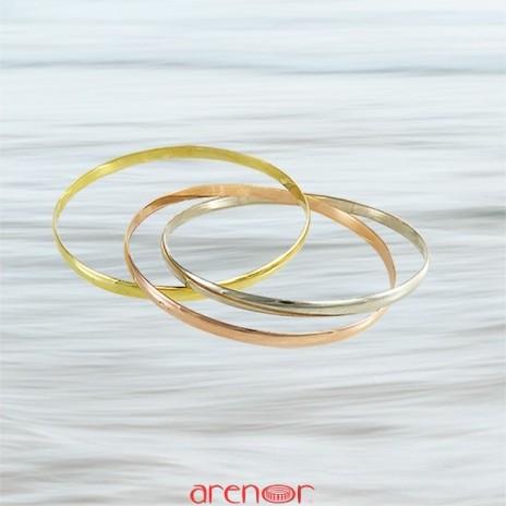Bracelet 3 joncs 1/2 jonc massif 3 ors