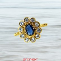 Bague or jaune feston saphir et diamants