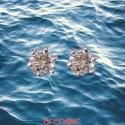 Boucles d'oreilles or gris 6 griffes avec diamants