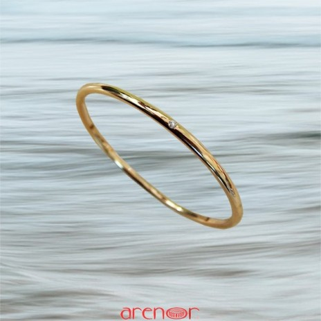 Bracelet jonc massif or jaune avec 3 diamants