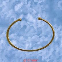 Bracelet jonc massif ouvert 2 boules or jaune