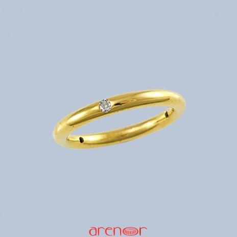 Alliance jonc or jaune 3 diamants