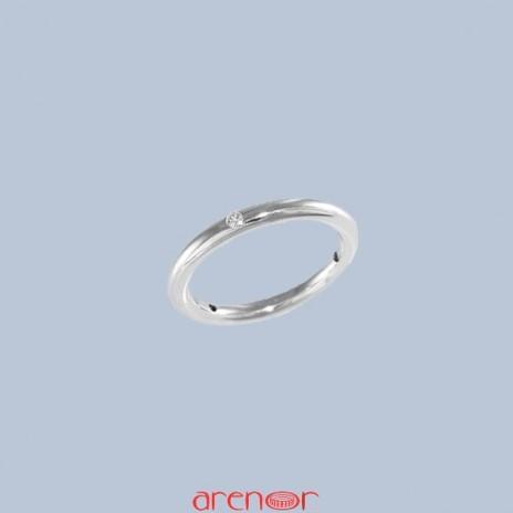 Alliance jonc or gris 3 diamants