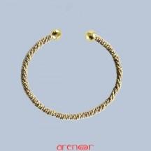 Bracelet jonc or jaune torsade double ouvert