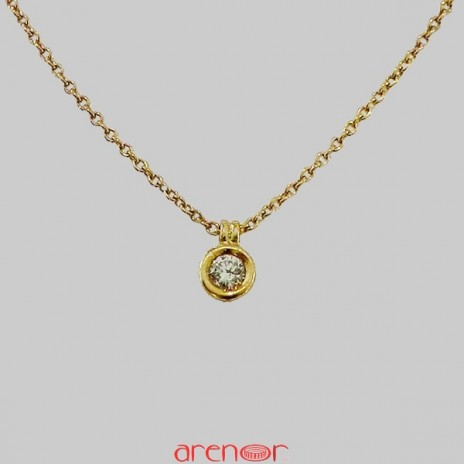 Collier pneu or jaune diamant 0,18ct