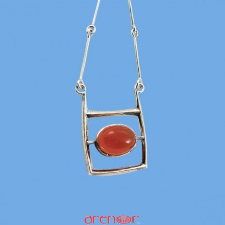 Collier argent motif cornaline claire