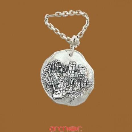 Porte-clef argent massif du Temple de Diane