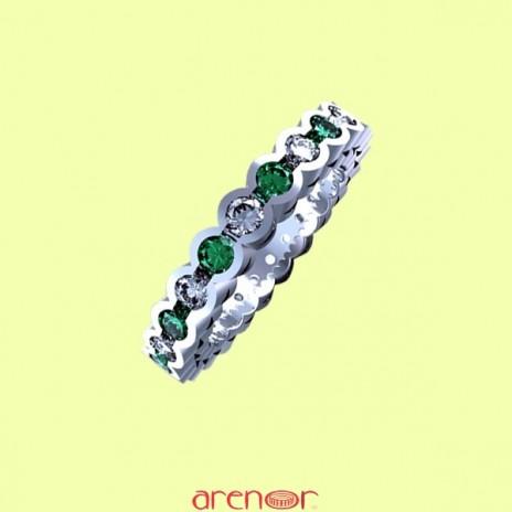 Alliance tube or gris avec émeraudes et diamants