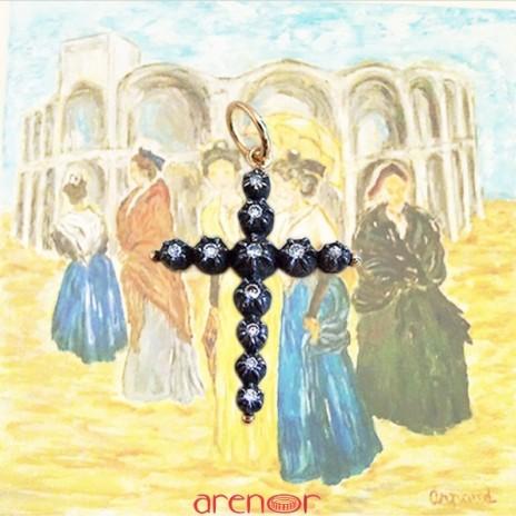 Croix Jeannette grand modèle argent et or jaune avec diamants