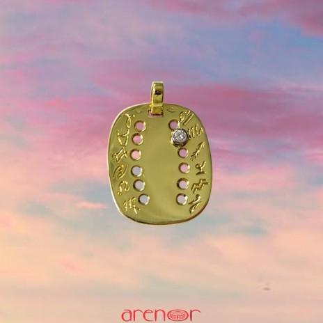 Pendentif or jaune zodiaque avec diamant