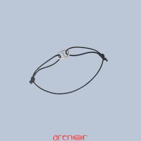Bracelet cordon motif or forme ovale barré